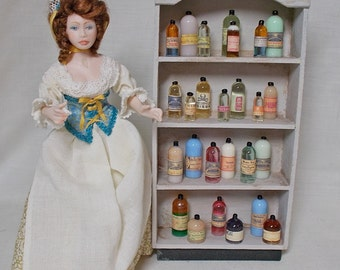 Dolls house Miniature filled Old Chemist Bottle Display