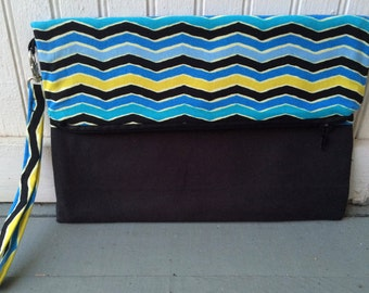 Fold Over Envelope Clutch Purse Bag, with Wristlet Strap & Zipper Closure - Blue, black, yellow and teal chevron