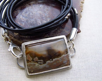 Artisan Crafted Jewelry, Mexican Picture Agate Linked Wrap Bracelet, Stone and Leather Triple Wrap Bracelet, Black Leather Wrap Bracelet