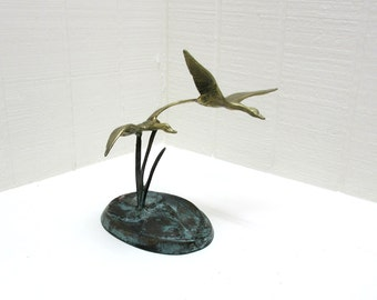 Vintage Brass And Bronze Geese Or Ducks Figurines Flying Over Lily Pond