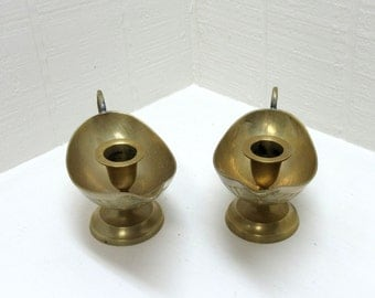 Vintage Brass Chamber Candle Holder Lot Of 2