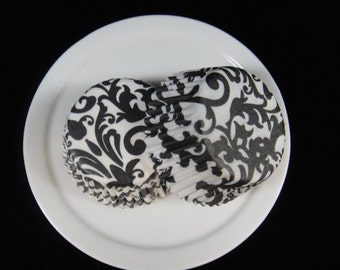 Black Damask Mini Cupcake Liners, Mini Baking Cups, Mini Muffin Papers, Candy Cups, Damask Cupcake Liners- QTY. 25
