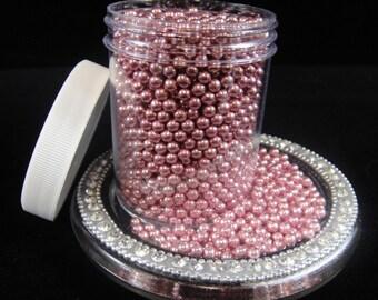 Pink Metallic 4mm Sugar Pearls, Cake Pop Sprinkles, Metallic Dragees, Cupcake Sprinkles, Candy Sprinkles, Sugar Pearls 4oz Jar