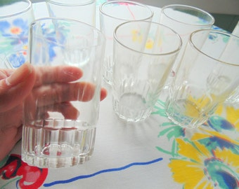 Mid Century Small 4 oz Juice Glass Set of 8 crystal clear Ribbed Panel Base