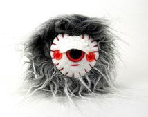 Stuffed Toy Ball - Yeti Monster Toy - Small Stuffed Monster - Triclops Plush Monster - Stuffed Toy - Children's Gift - Grey and White