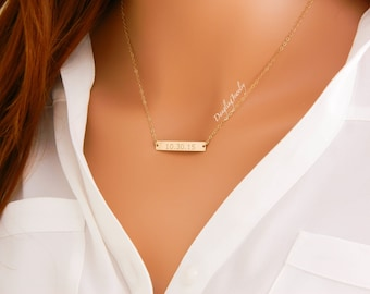 GOLD Bar Necklace, Custom Date Bar Necklace, Wedding date jewelry, Long bar necklace, Bridesmaid Gift, Anniversary Date, Narrow Bar Necklace