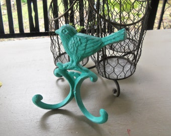 Cast Iron Bird Hook Blue