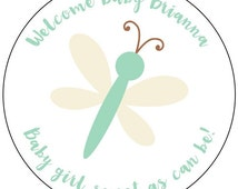 dragonfly baby shower stickers, green dragonfly baby labels, sweet dragonfly baby shower stickers, 3 sizes available