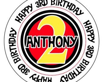 2nd birthday stickers, second birthday stickers, red yellow black birthday stickers, birthday party stickers, custom birthday number labels