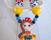 Jessie Toy Story Disney Jessie necklace, polymer clay necklace, Jessie pendant for little girls, Toy Story birthday party, costume, Disney
