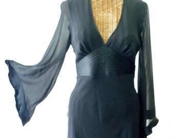 S O L D  Augusta's Dress Express Silk Dress Tuxedo Black Sheer Bell Sleeve