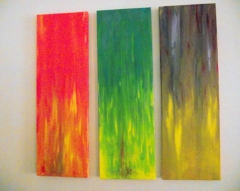 Abstract Art Orange Lime Purple Three Panels Wall Hanging Modern Art Contemporary Office decor Living Room Doctors office