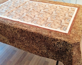 """tablecoth 52"""" x 70"""" handmade - brown floral - free shipping"""