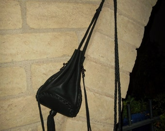 Hand Laced Black Deerskin Larger Circle Drop Bag Purse Shoulder Crossbody Drawstring