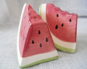 Watermelon Salt and Pepper Shakers - vintage, collectible, food