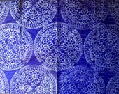 Large sheet blue tissue paper handprinted in silver, Indian woodblock print