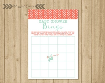 INSTANT DOWNLOAD | Tribal Baby Shower Bingo Card | Printable | Bingo Cards | Arrow | Printable Shower Game | Coral | BS27