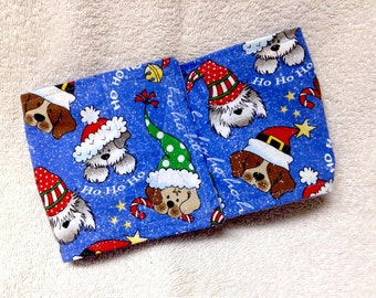 Male Dog Belly Band Diaper Pet Wrap  Pants Blue Christmas Doggie Panties Sizes To 30 Inches
