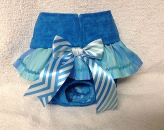 Female Dog Diaper Skirt Panties Doggie Pet Wrap Pants Britches Size XSmall To Large Blue Tie Dye Fabric