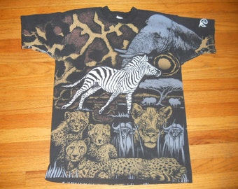 Vintage 1990s All-Over Print Jungle Animals t-shirt Phoenix Zoo Size Large
