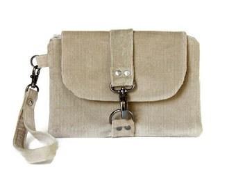 Corduroy Wristlet, Beige Woman's Wristlet, Small Handbag, Wristlet Wallet, Casual and Comfortable Hand Bag