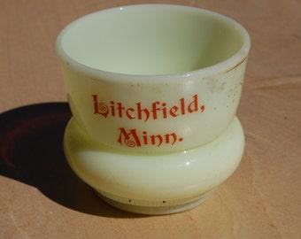Vintage Heisey custard glass souvenir toothpick holder from Litchfield, Minn. No chips or cracks. Well marked.