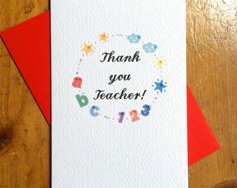 Thank You Teacher ABC Card thank you primary school colourful card FREE UK P&P