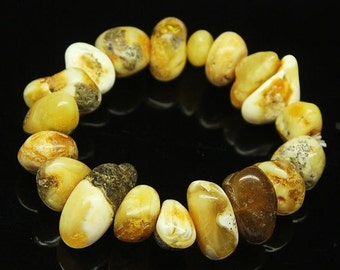 45% GOOD FRIDAY SALE Baltic Poland Amber Smooth Tumble Beads Stretchable Bracelet, 7 inches, 12-25mm, Sku9410/S