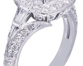 14k White Gold Princess Cut Diamond Engagement Ring Deco Halo Filigree 2.00ctw