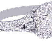 14k White Gold Princess Cut Diamond Engagement Ring Deco Halo Filigree 1.80ctw
