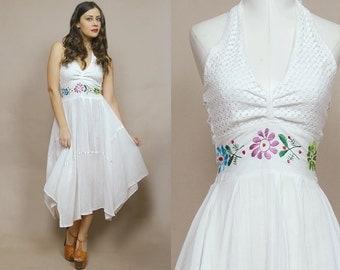 70s Gauze Dress Handkerchief White Crochet Embroidered Sundress Halter Floral 1970s Hippie Boho Senorita / Size S M Small Medium