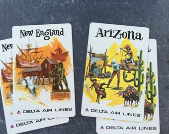 Vintage Playing Cards New England or Arizona Set of Two