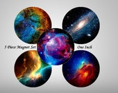 "Hubble Magnets, 5 ct Space Magnet Set, Hubble Images Galaxy Magnet Set, Fridge Magnets, Tech Gift, 1"" Magnets"