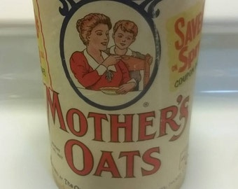 Vintage Quick Mother's Oats Quaker Oats Company cardboard  cannister from 1950s
