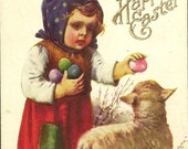 RESERVED LISTING (NJ) Girl with Lamb and Colored Easter Eggs ~ A Happy Easter Vintage Postcard