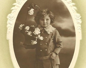 Angelic Boy with Flower Basket on Schwerdtfeger EAS Photo Birthday Postcard 1912 RPPC Embossed Oval Frame