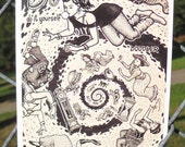 TIMEWARP Postcard by David Jablow Doodle Pad Art 5x7 Glossy