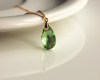 Green swarovski cystal necklace with gold or silver plated chain,  a perfect gift for wedding, christmas, valentine's, gift idea bridal gift