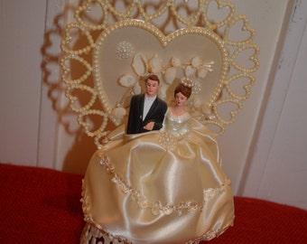 Vintage Bride & Groom Wedding Cake Topper Circa 1940's