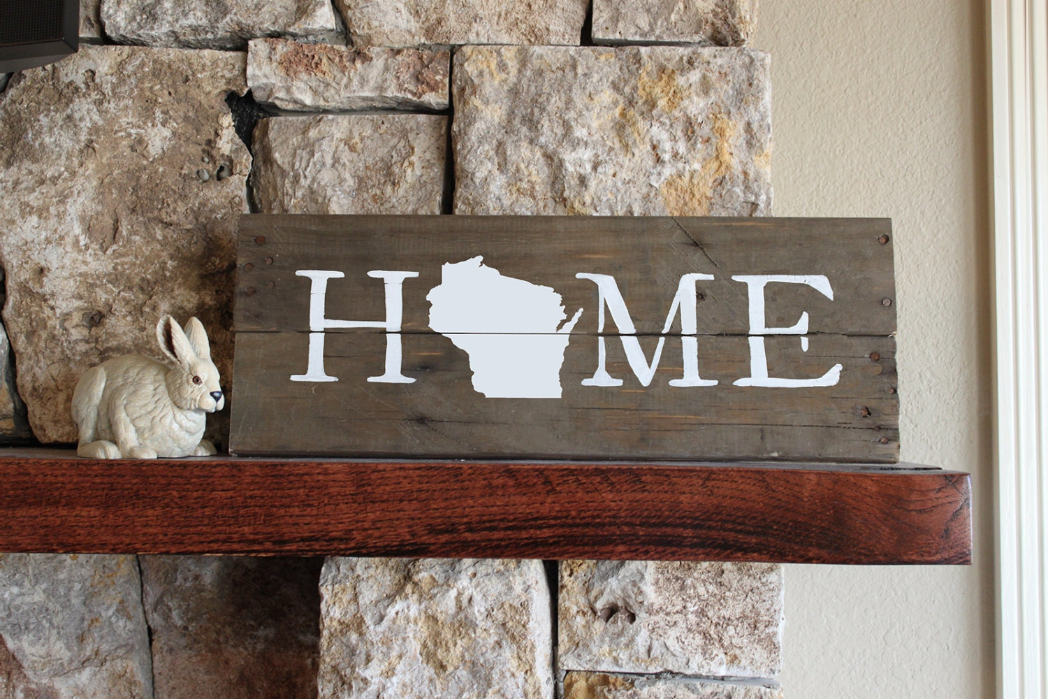 Wisconsin HOME Sign, Reclaimed Wood Sign, WI Home Sign, Wisconsin Artwork,  Rustic - Wi Etsy
