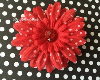 Small Red and White Swiss Dot Daisy Hair Clip