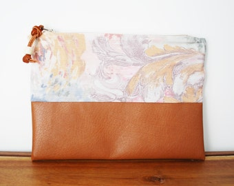 Upcycled Pastel Floral Cloth and Tan Vegan Leather Zipper Pouch