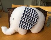 Cute Plush Elephant Stuffed Animal Pillow - white with navy chevron - Unique Toy, Decor, Decoration, Gift