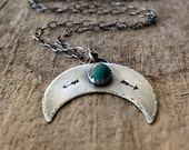 Double Horn Pendant, Inverted Crescent Moon Necklace, Silver Turquoise Necklace, Moon Pendant, December Birthstone, Bohemian Jewelry