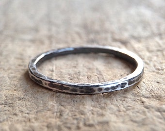 Antiqued Sterling Silver Ring, Textured Ring, Hammered Ring, Stacking Skinny Ring, Ring Band, Bohemian Ring, Bohemian Jewelry, Mother's Day