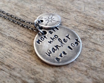Boho Necklace, Not All Who Wander Are Lost, Wanderlust, Free Spirit, Compass Necklace, World Traveler, Sterling Silver, Mother's Day