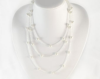 Pearl Layered Necklace - White - Layered Necklace - 67 inches