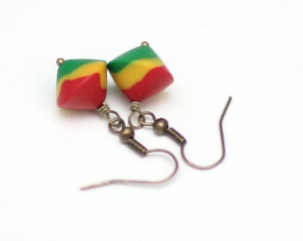 Rasta Earrings - Dangle Earrings - Red Yellow Green - Rastafarian Polymer Clay Earrings - Bicone Rasta Beads - Bohemian Jewelry - Hippie
