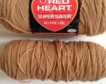 Red Heart Yarn – Warm Brown – Super Saver - 2 skeins