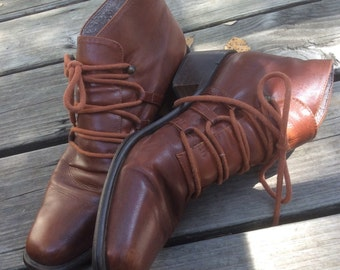 Brown Ankle Lace Up Boots 8AA